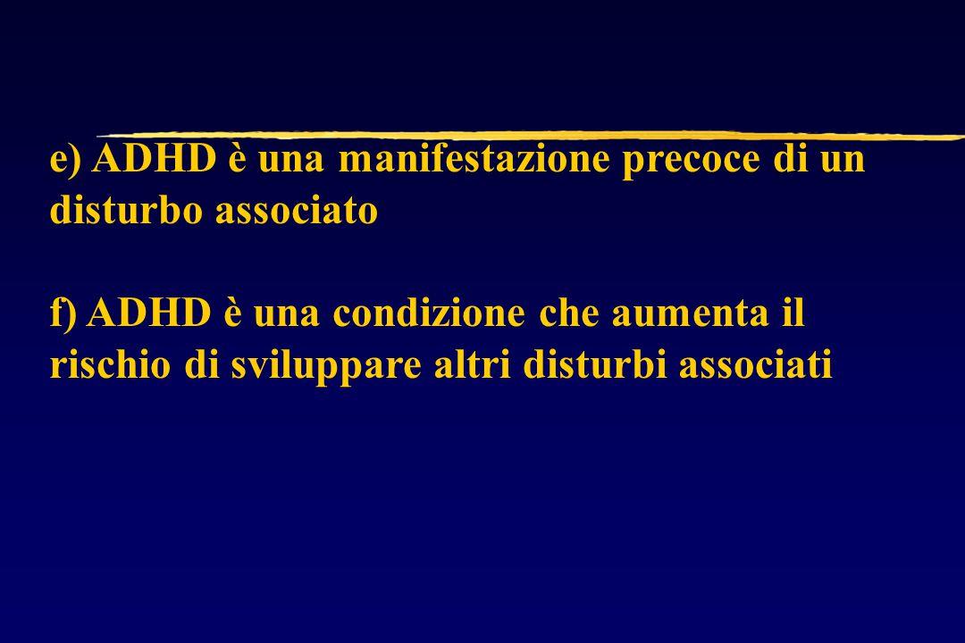 e) ADHD è una manifestazione precoce di un disturbo associato f) ADHD è una condizione che aumenta il rischio di sviluppare altri disturbi associati
