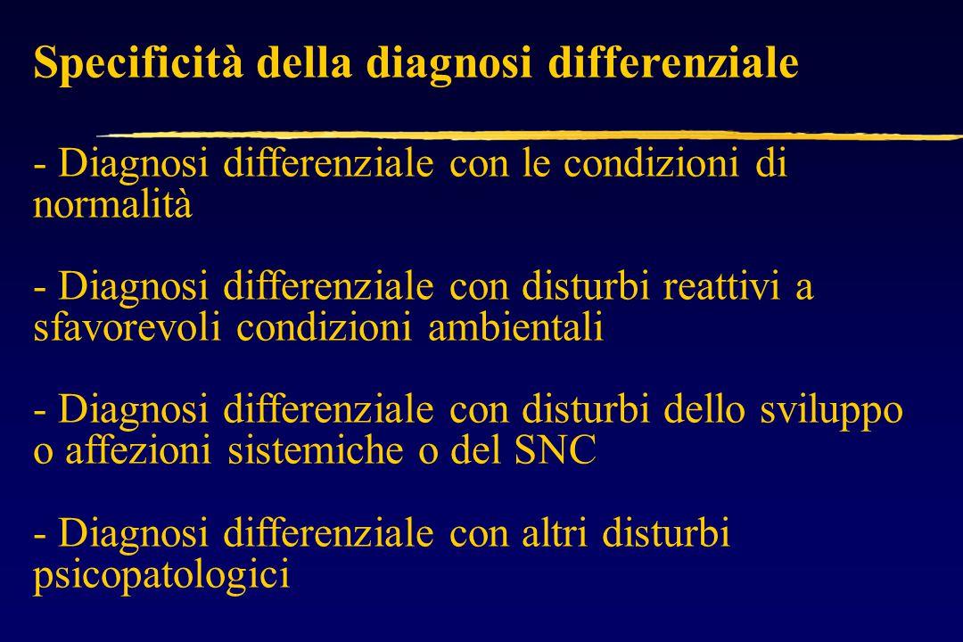 Specificità della diagnosi differenziale - Diagnosi differenziale con le condizioni di normalità - Diagnosi differenziale con disturbi reattivi a sfavorevoli condizioni ambientali - Diagnosi differenziale con disturbi dello sviluppo o affezioni sistemiche o del SNC - Diagnosi differenziale con altri disturbi psicopatologici