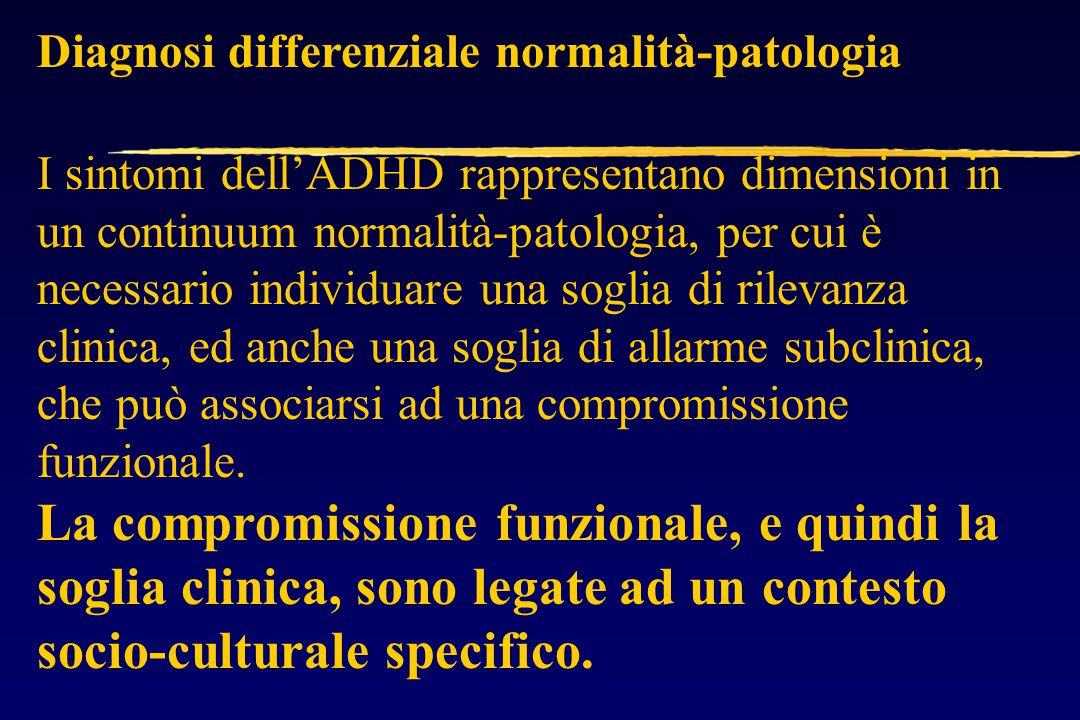 Diagnosi differenziale normalità-patologia I sintomi dell'ADHD rappresentano dimensioni in un continuum normalità-patologia, per cui è necessario individuare una soglia di rilevanza clinica, ed anche una soglia di allarme subclinica, che può associarsi ad una compromissione funzionale.