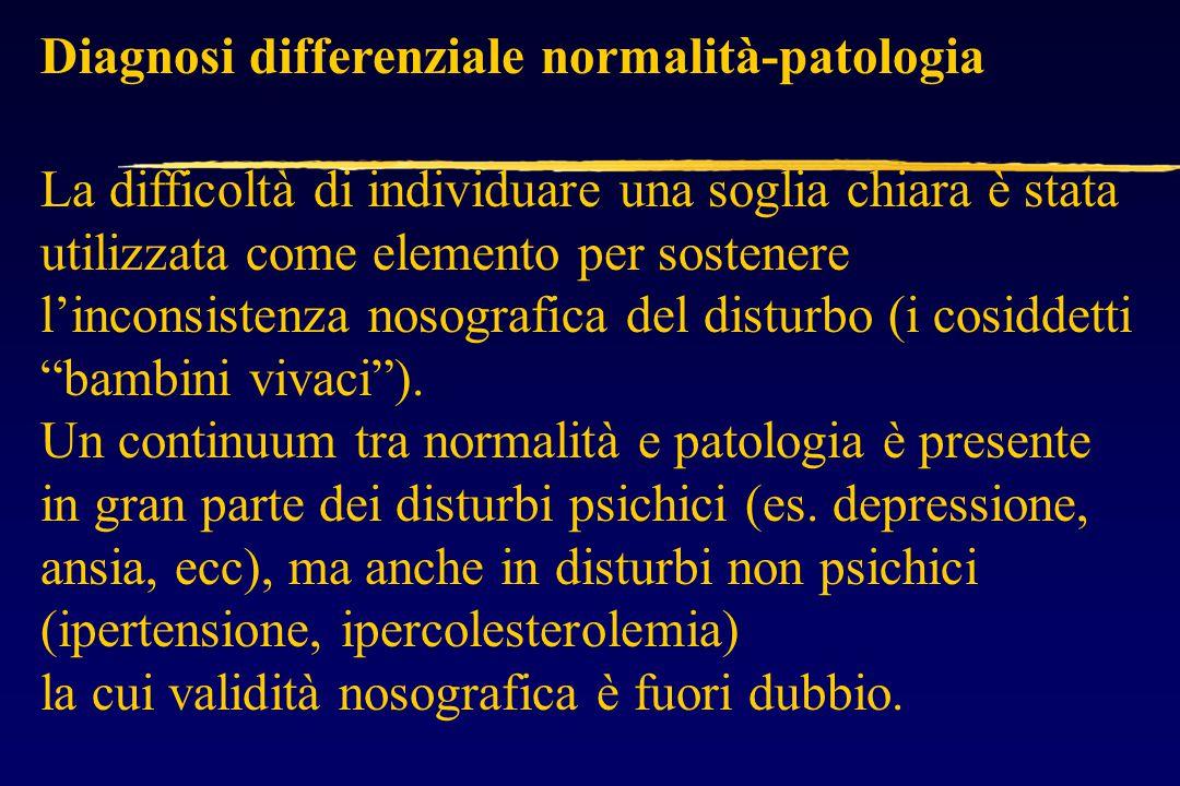 Diagnosi differenziale normalità-patologia La difficoltà di individuare una soglia chiara è stata utilizzata come elemento per sostenere l'inconsistenza nosografica del disturbo (i cosiddetti bambini vivaci ).