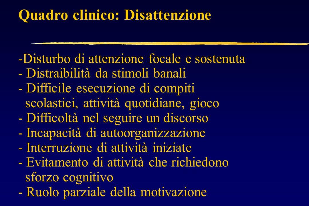Quadro clinico: Impulsività - Difficoltà di controllo comportamentale - Incapacità a differire la risposta automatica ad uno stimolo (es.