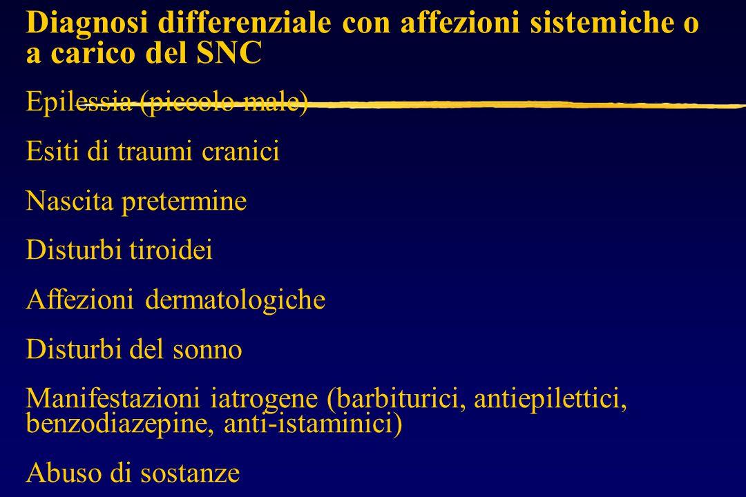 Diagnosi differenziale con affezioni sistemiche o a carico del SNC Epilessia (piccolo male) Esiti di traumi cranici Nascita pretermine Disturbi tiroidei Affezioni dermatologiche Disturbi del sonno Manifestazioni iatrogene (barbiturici, antiepilettici, benzodiazepine, anti-istaminici) Abuso di sostanze