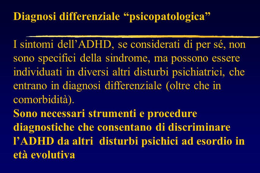 Diagnosi differenziale psicopatologica I sintomi dell'ADHD, se considerati di per sé, non sono specifici della sindrome, ma possono essere individuati in diversi altri disturbi psichiatrici, che entrano in diagnosi differenziale (oltre che in comorbidità).