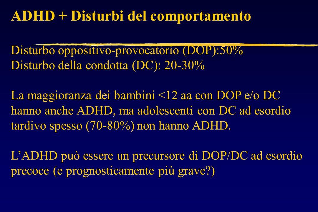 ADHD + Disturbi del comportamento Disturbo oppositivo-provocatorio (DOP):50% Disturbo della condotta (DC): 20-30% La maggioranza dei bambini <12 aa con DOP e/o DC hanno anche ADHD, ma adolescenti con DC ad esordio tardivo spesso (70-80%) non hanno ADHD.