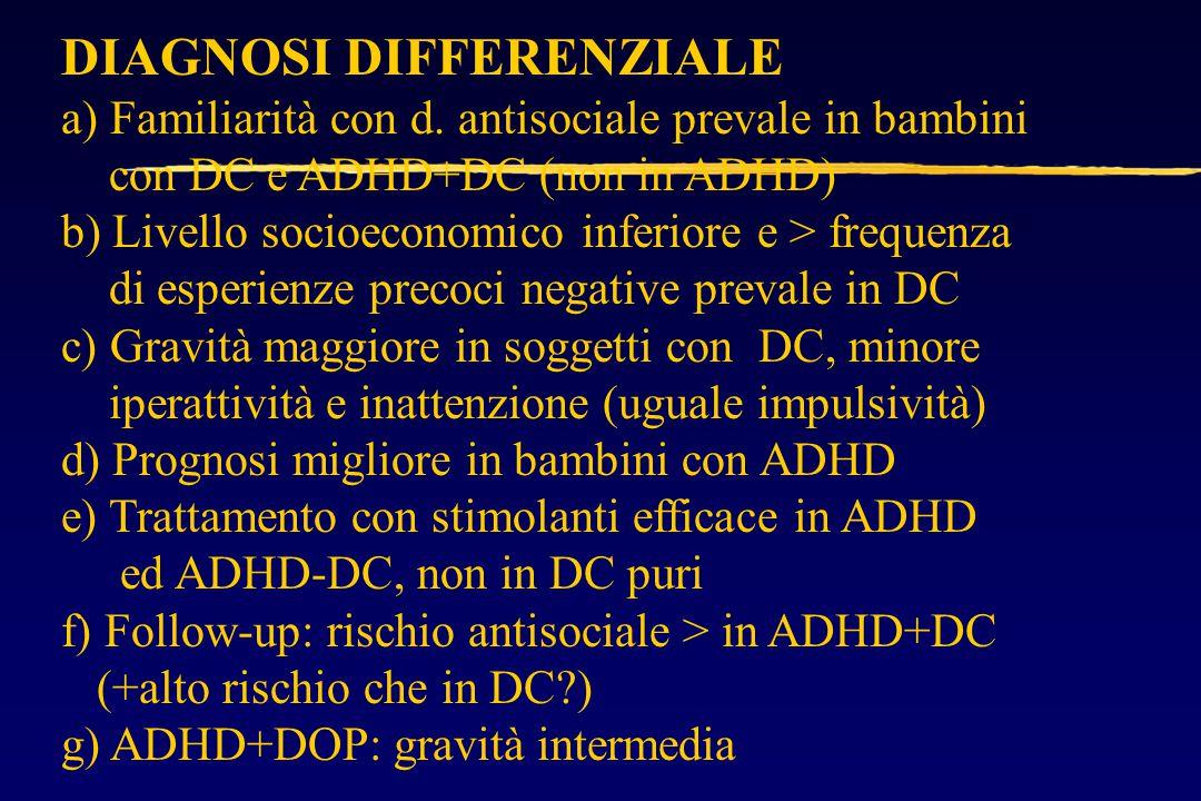 DIAGNOSI DIFFERENZIALE a) Familiarità con d.