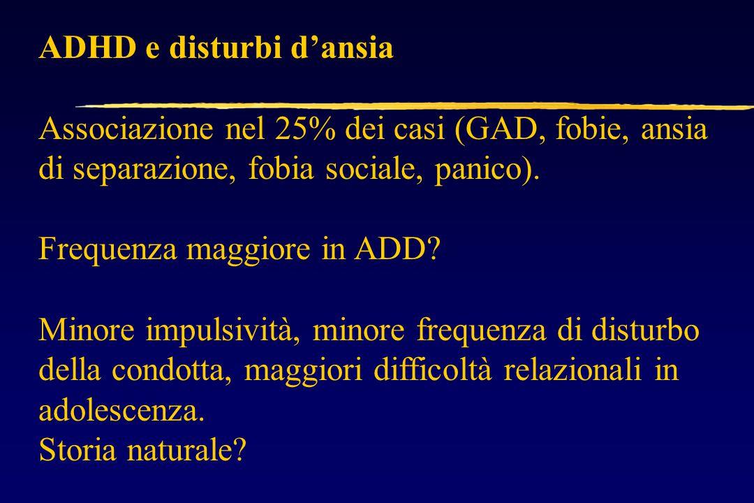 ADHD e disturbi d'ansia Associazione nel 25% dei casi (GAD, fobie, ansia di separazione, fobia sociale, panico).