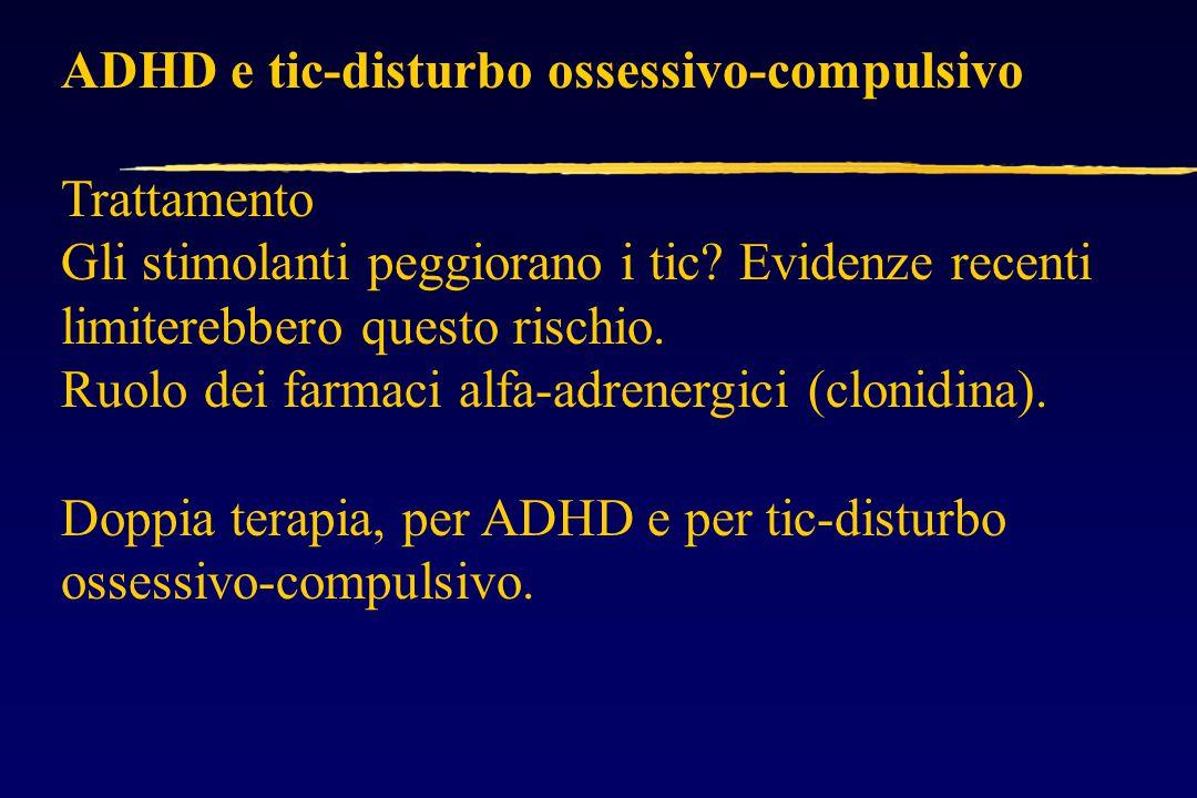 ADHD e tic-disturbo ossessivo-compulsivo Trattamento Gli stimolanti peggiorano i tic.
