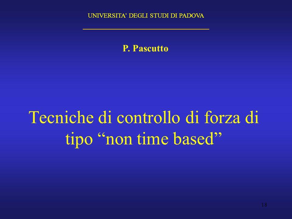 """18 Tecniche di controllo di forza di tipo """"non time based"""" P. Pascutto UNIVERSITA' DEGLI STUDI DI PADOVA"""