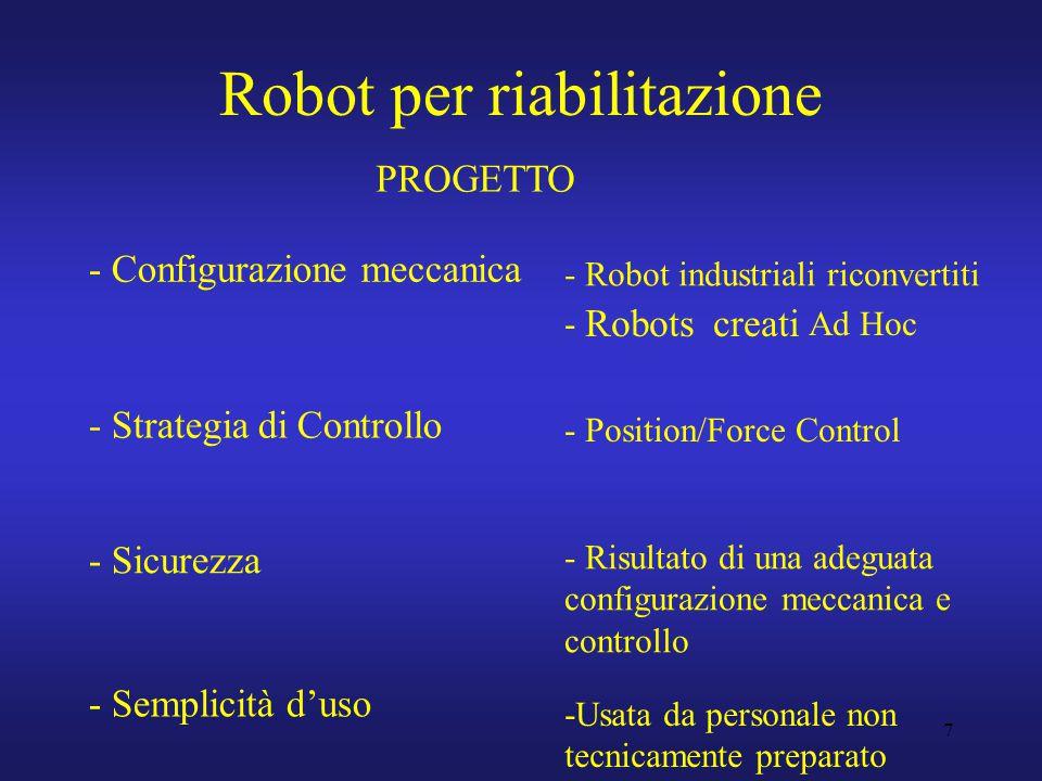 7 Robot per riabilitazione - Configurazione meccanica - Strategia di Controllo - Sicurezza - Semplicità d'uso - Robot industriali riconvertiti - Robots creati Ad Hoc - Position/Force Control - Risultato di una adeguata configurazione meccanica e controllo -Usata da personale non tecnicamente preparato PROGETTO