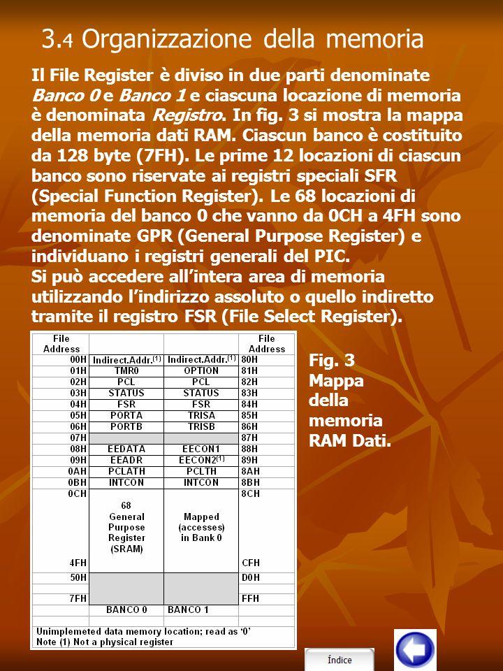 Il File Register è diviso in due parti denominate Banco 0 e Banco 1 e ciascuna locazione di memoria è denominata Registro. In fig. 3 si mostra la mapp