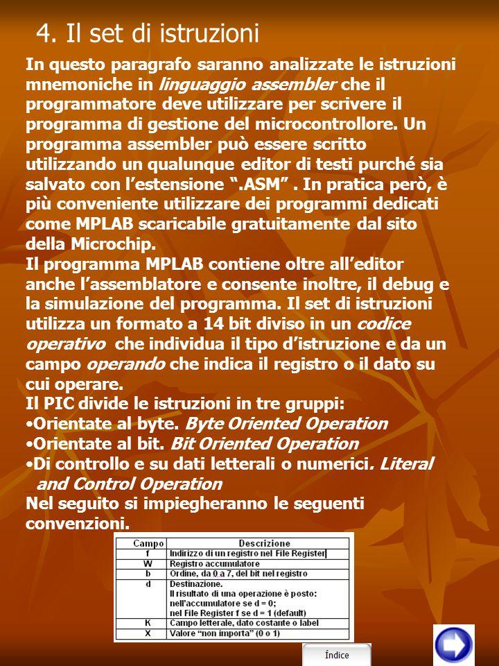 In questo paragrafo saranno analizzate le istruzioni mnemoniche in linguaggio assembler che il programmatore deve utilizzare per scrivere il programma