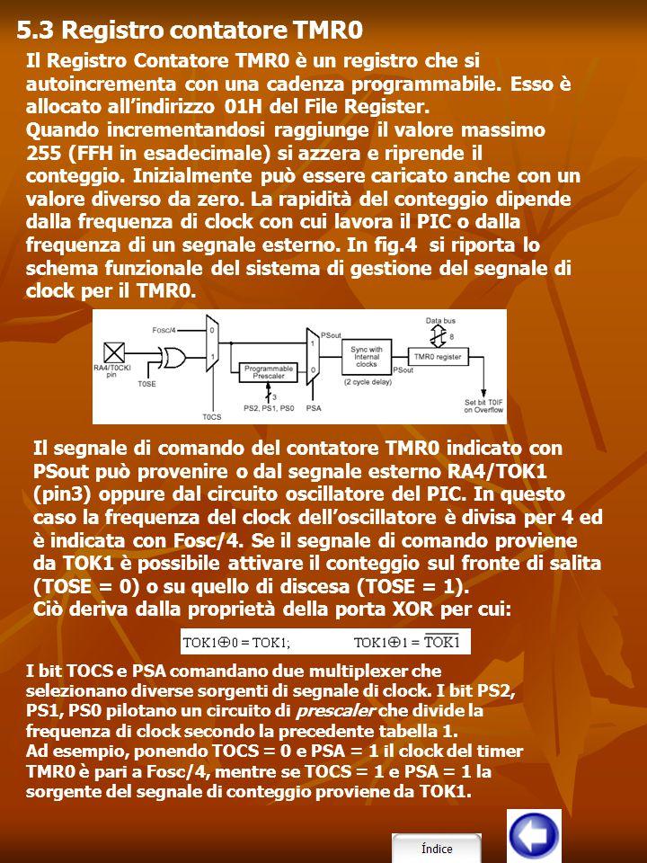 Il Registro Contatore TMR0 è un registro che si autoincrementa con una cadenza programmabile. Esso è allocato all'indirizzo 01H del File Register. Qua