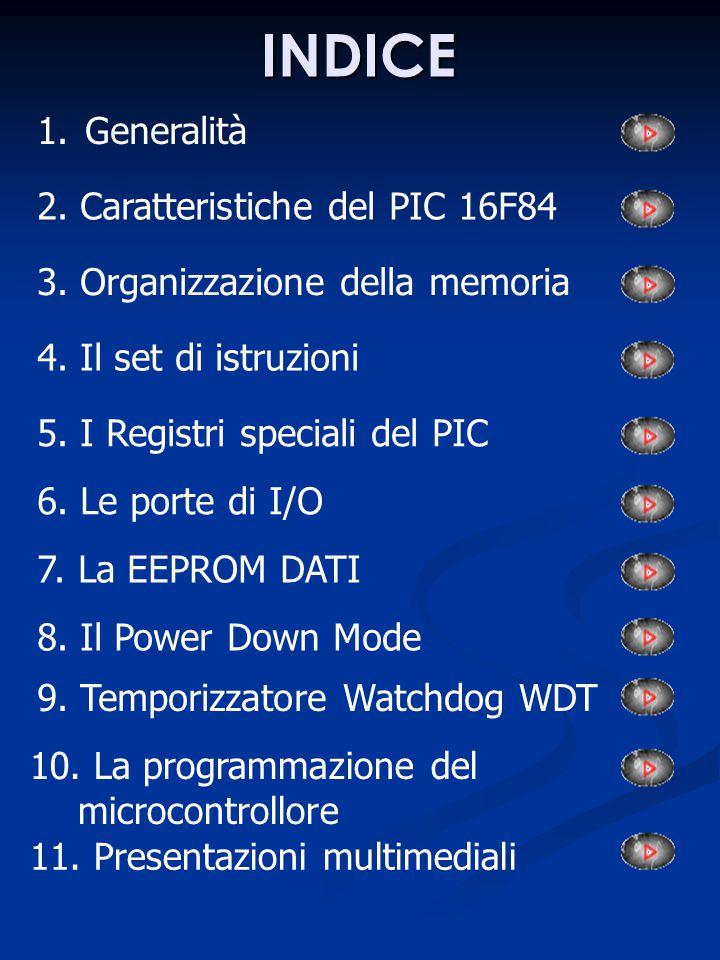 INDICE 1.GeneralitàGeneralità 2. Caratteristiche del PIC 16F84 3. Organizzazione della memoria 4. Il set di istruzioni 5. I Registri speciali del PIC