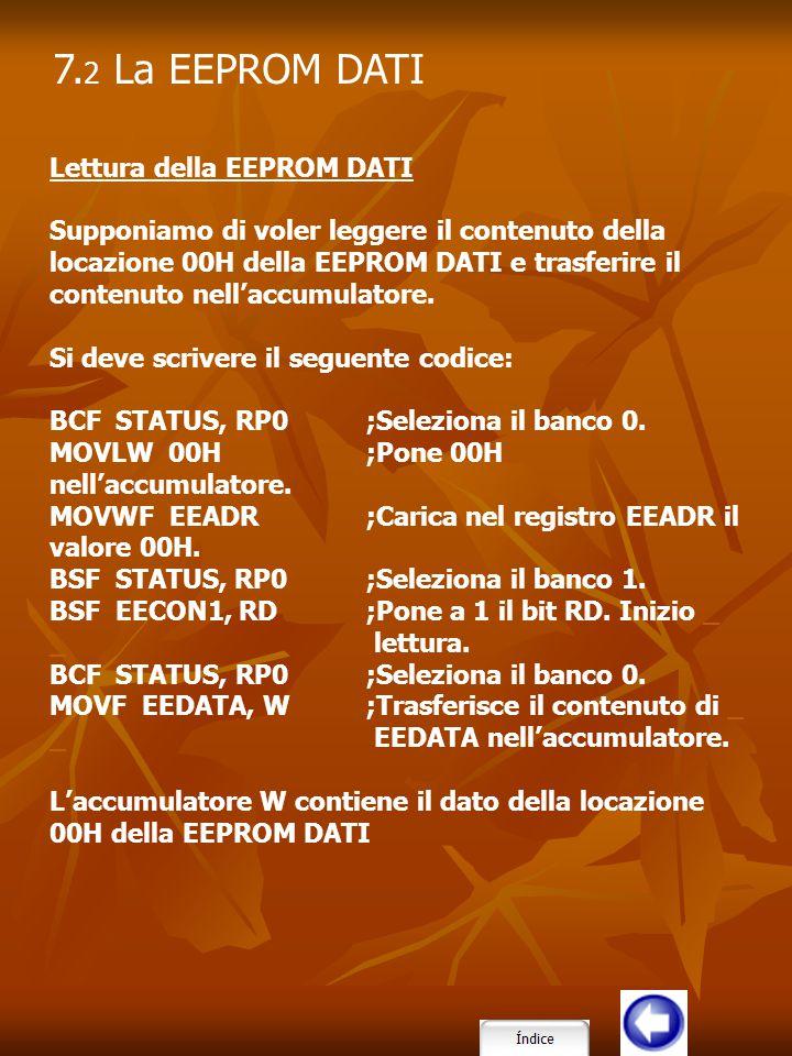 Lettura della EEPROM DATI Supponiamo di voler leggere il contenuto della locazione 00H della EEPROM DATI e trasferire il contenuto nell'accumulatore.