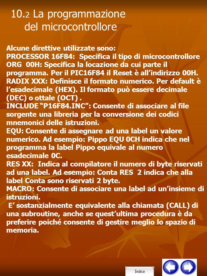 Alcune direttive utilizzate sono: PROCESSOR 16F84: Specifica il tipo di microcontrollore ORG 00H: Specifica la locazione da cui parte il programma. Pe