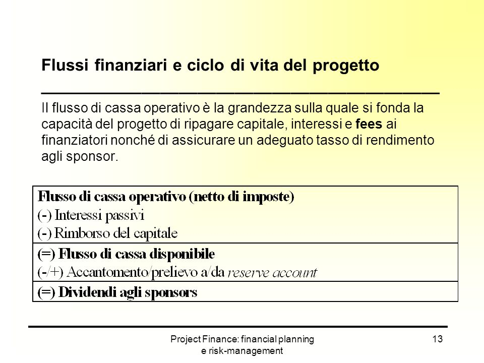 Project Finance: financial planning e risk-management 13 Flussi finanziari e ciclo di vita del progetto ___________________________________________ Il