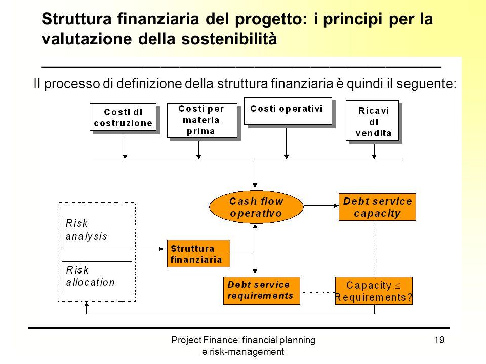 Project Finance: financial planning e risk-management 19 Struttura finanziaria del progetto: i principi per la valutazione della sostenibilità _______