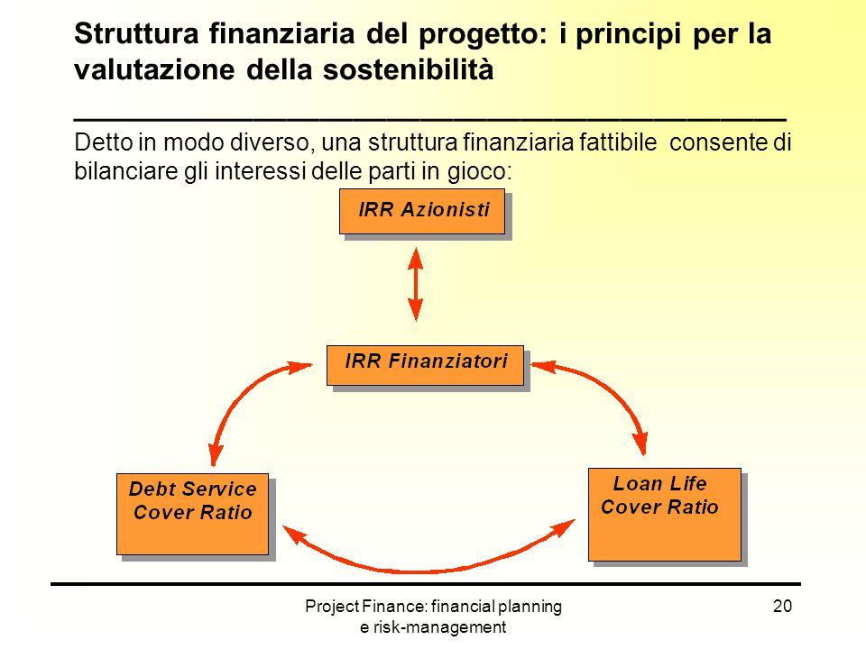 Project Finance: financial planning e risk-management 20 Struttura finanziaria del progetto: i principi per la valutazione della sostenibilità _______