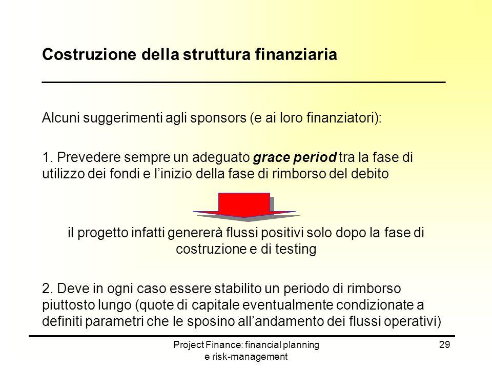 Project Finance: financial planning e risk-management 29 Alcuni suggerimenti agli sponsors (e ai loro finanziatori): 1. Prevedere sempre un adeguato g