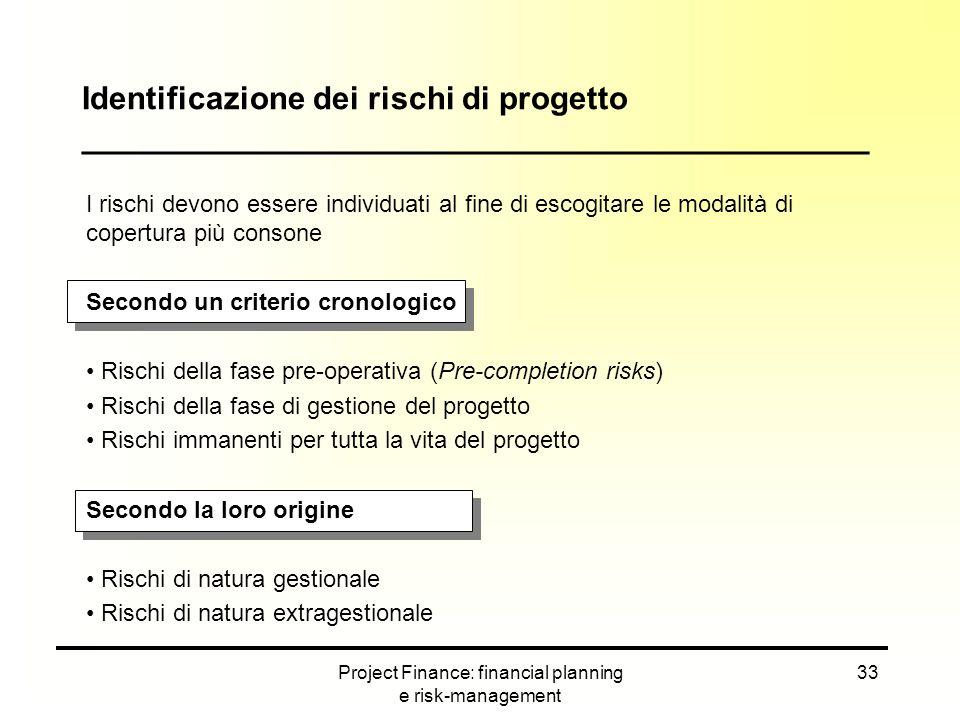 Project Finance: financial planning e risk-management 33 I rischi devono essere individuati al fine di escogitare le modalità di copertura più consone