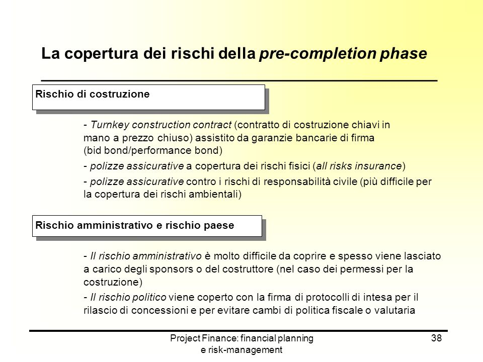 Project Finance: financial planning e risk-management 38 Rischio di costruzione - Turnkey construction contract (contratto di costruzione chiavi in ma