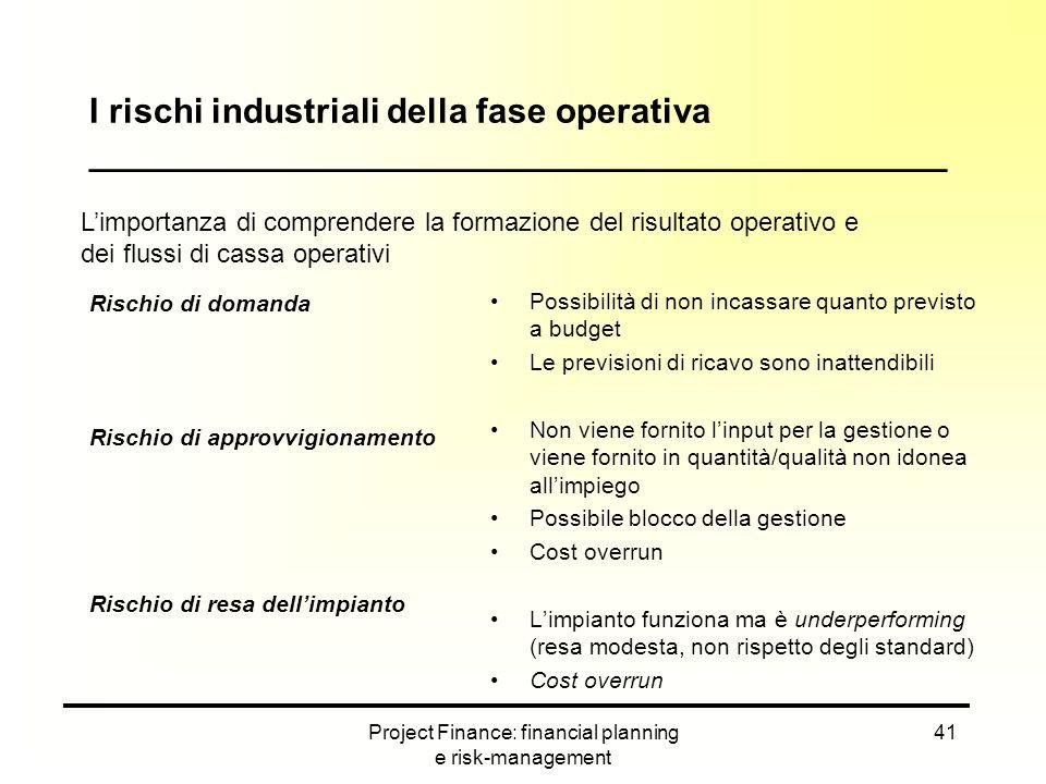 Project Finance: financial planning e risk-management 41 Rischio di domanda Rischio di approvvigionamento Rischio di resa dell'impianto Possibilità di