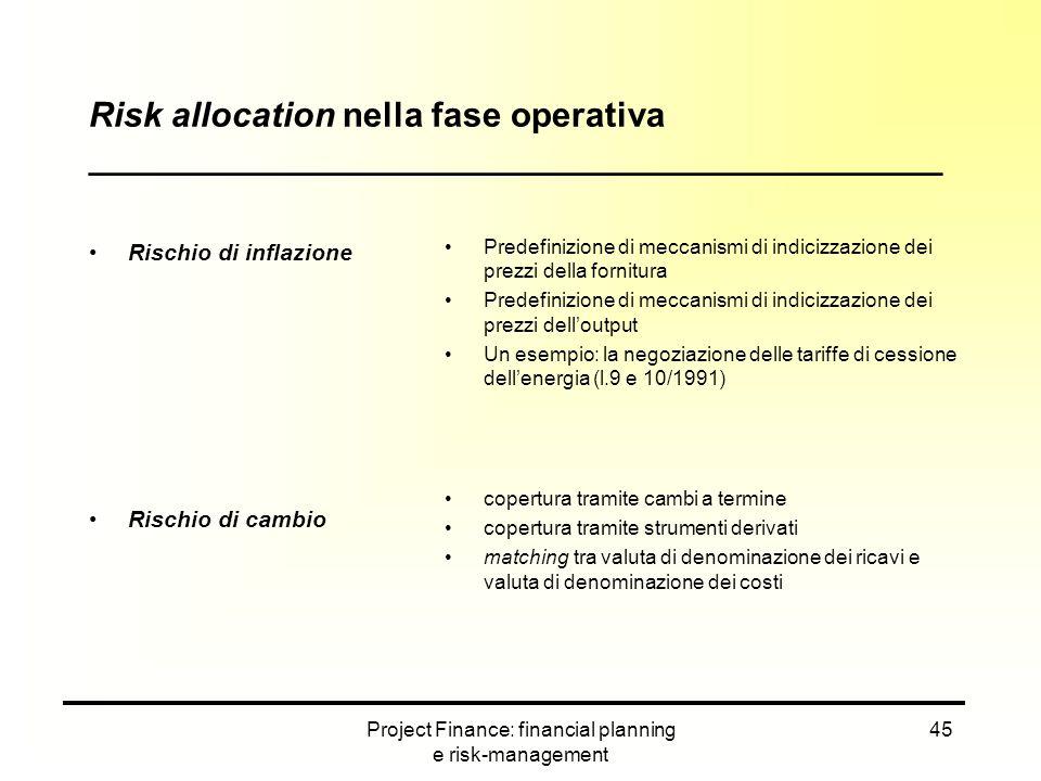 Project Finance: financial planning e risk-management 45 Rischio di inflazione Rischio di cambio Predefinizione di meccanismi di indicizzazione dei pr