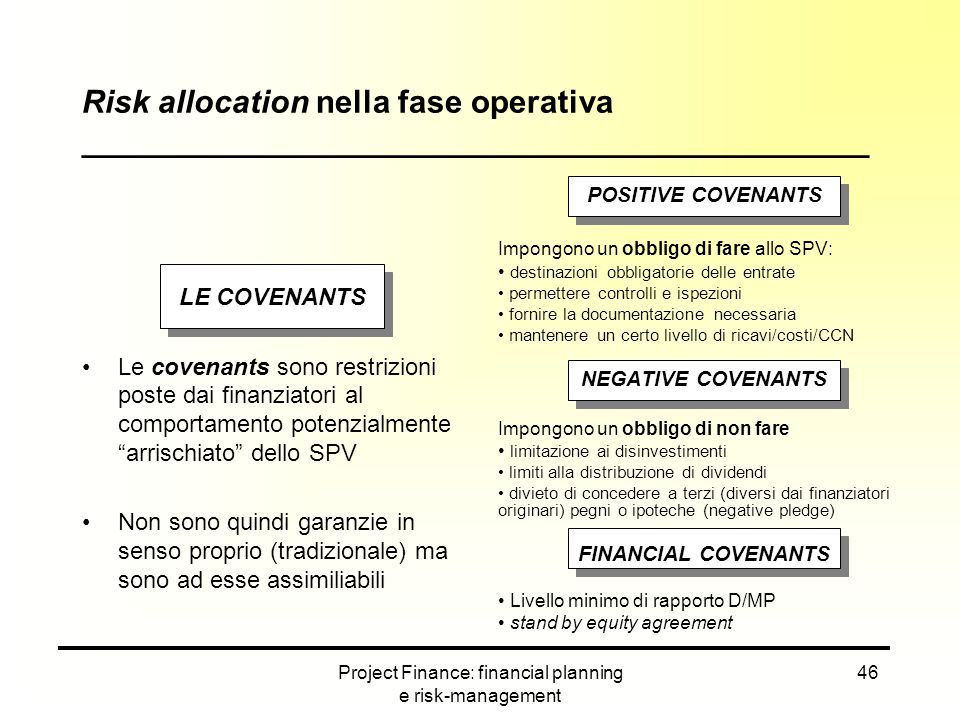 Project Finance: financial planning e risk-management 46 LE COVENANTS Le covenants sono restrizioni poste dai finanziatori al comportamento potenzialm