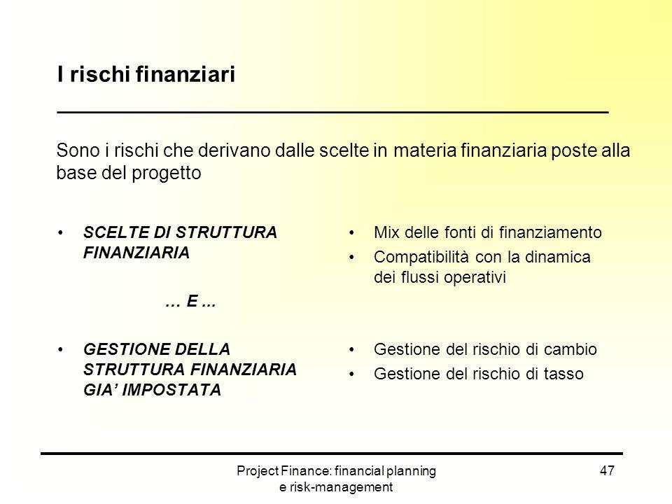 Project Finance: financial planning e risk-management 47 SCELTE DI STRUTTURA FINANZIARIA … E... GESTIONE DELLA STRUTTURA FINANZIARIA GIA' IMPOSTATA I