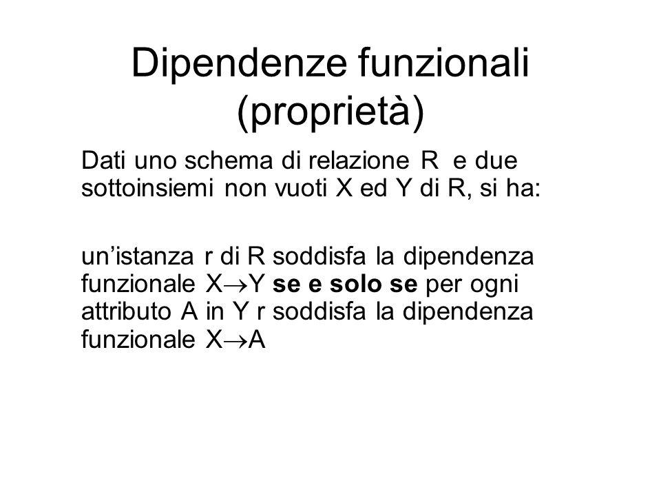 Dipendenze funzionali (proprietà) Dati uno schema di relazione R e due sottoinsiemi non vuoti X ed Y di R, si ha: un'istanza r di R soddisfa la dipend