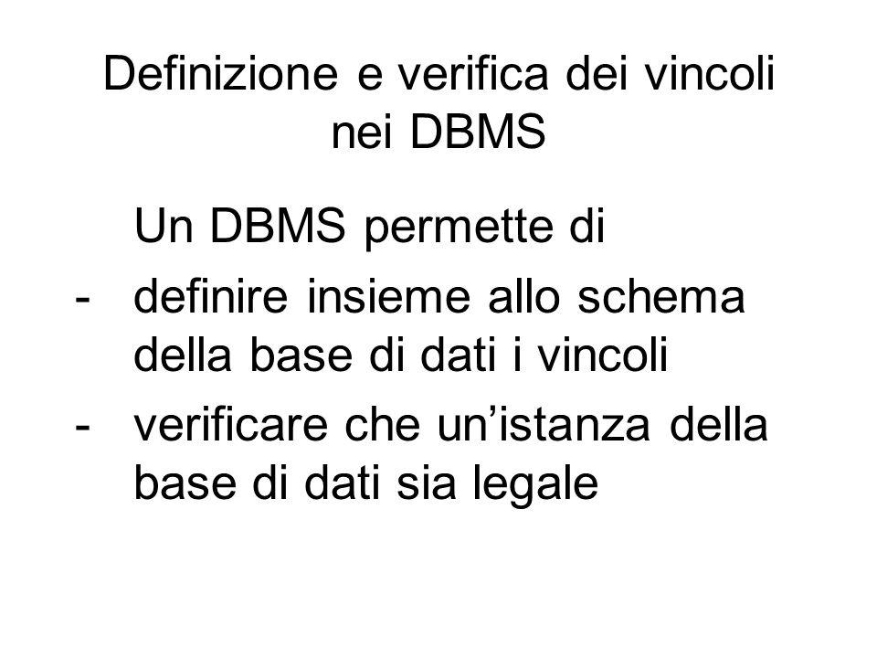 Definizione e verifica dei vincoli nei DBMS Un DBMS permette di -definire insieme allo schema della base di dati i vincoli -verificare che un'istanza