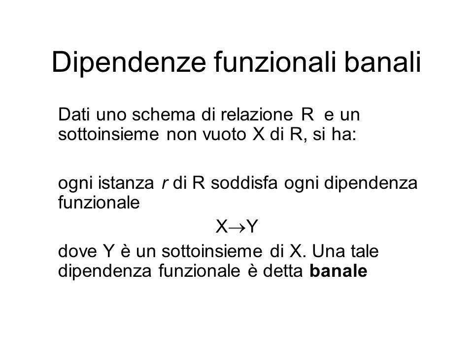 Dipendenze funzionali banali Dati uno schema di relazione R e un sottoinsieme non vuoto X di R, si ha: ogni istanza r di R soddisfa ogni dipendenza fu