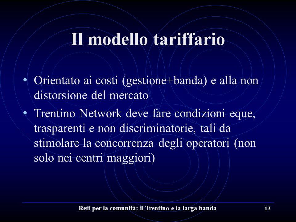 Reti per la comunità: il Trentino e la larga banda 13 Il modello tariffario Orientato ai costi (gestione+banda) e alla non distorsione del mercato Trentino Network deve fare condizioni eque, trasparenti e non discriminatorie, tali da stimolare la concorrenza degli operatori (non solo nei centri maggiori)