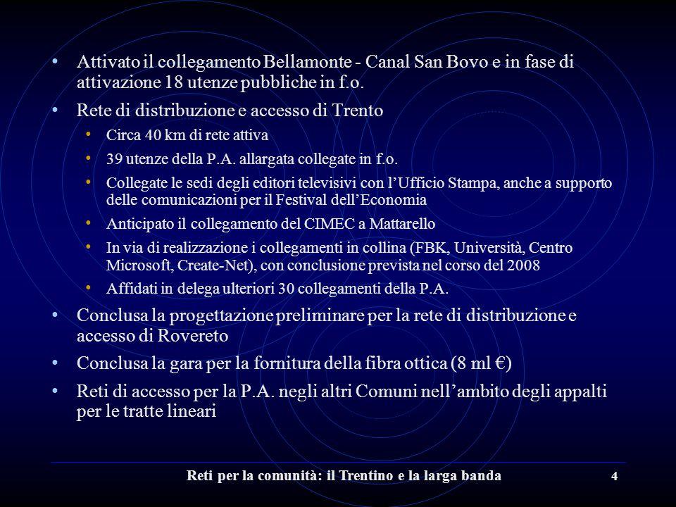 Reti per la comunità: il Trentino e la larga banda 4 Attivato il collegamento Bellamonte - Canal San Bovo e in fase di attivazione 18 utenze pubbliche in f.o.