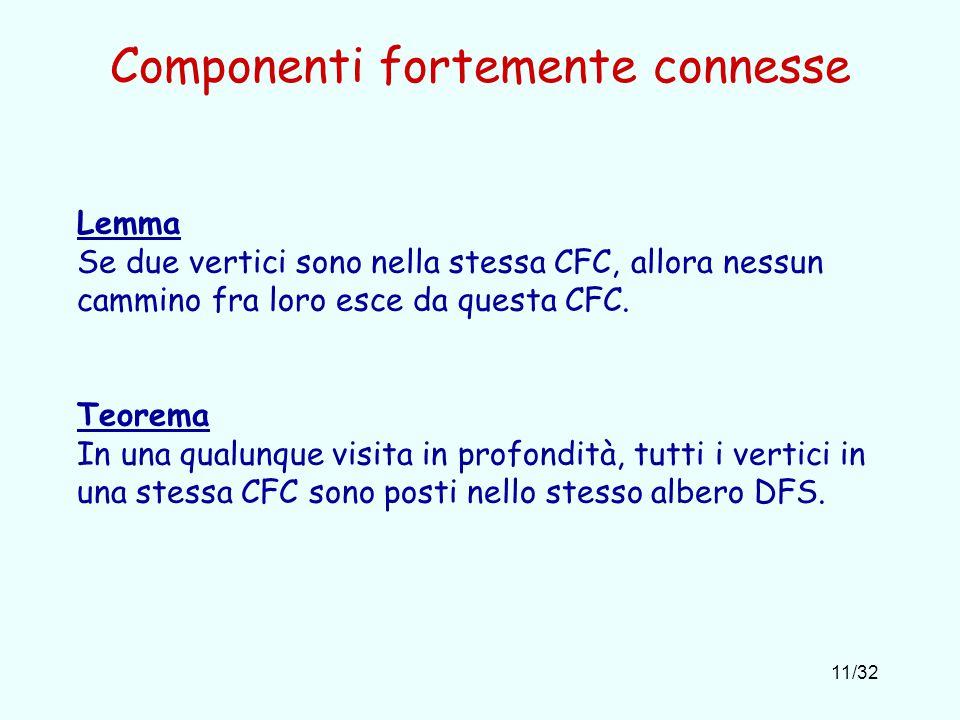 11/32 Componenti fortemente connesse Lemma Se due vertici sono nella stessa CFC, allora nessun cammino fra loro esce da questa CFC.