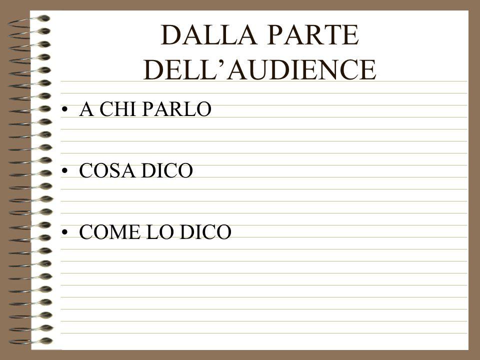 DALLA PARTE DELL'AUDIENCE A CHI PARLO COSA DICO COME LO DICO