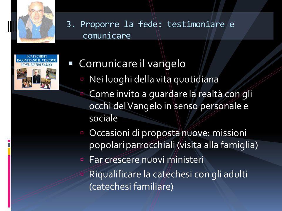3. Proporre la fede: testimoniare e comunicare  Comunicare il vangelo  Nei luoghi della vita quotidiana  Come invito a guardare la realtà con gli o