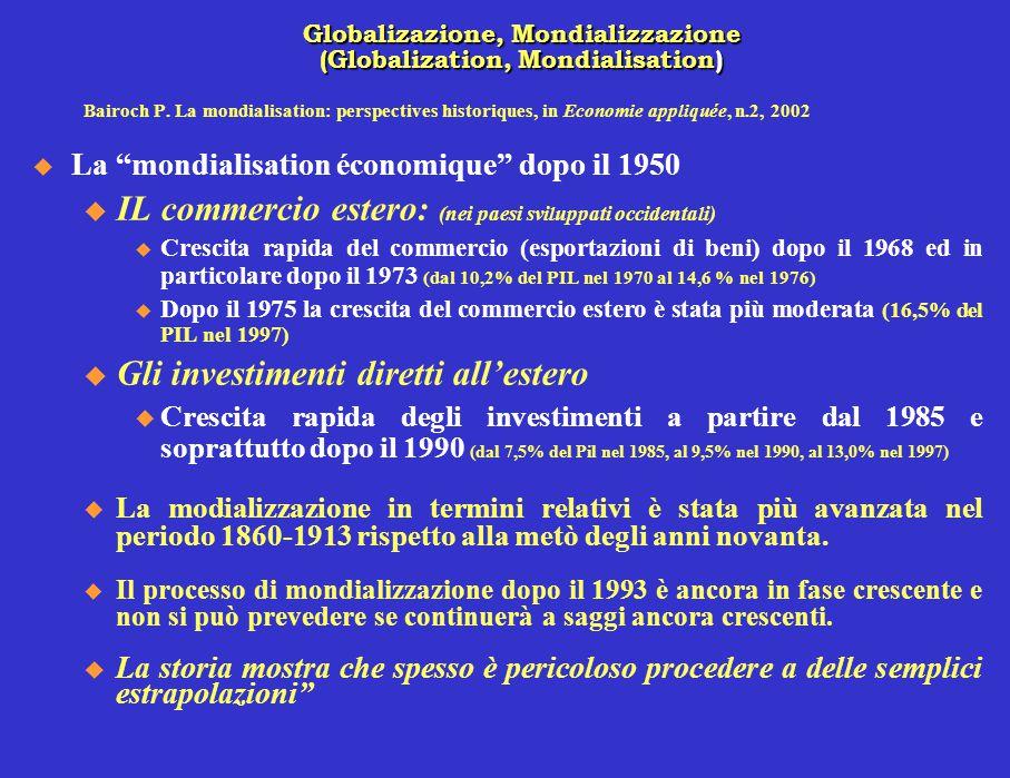 """Bairoch P. La mondialisation: perspectives historiques, in Economie appliquée, n.2, 2002  La """"mondialisation économique"""" dopo il 1950 u IL commercio"""