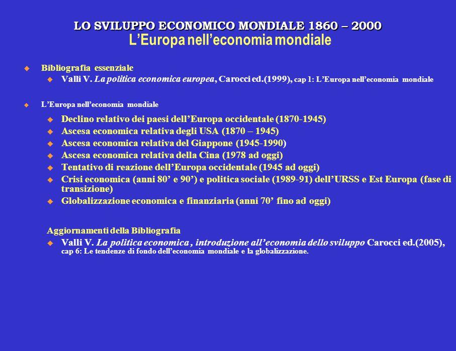 LO SVILUPPO ECONOMICO MONDIALE 1860 – 2000 LO SVILUPPO ECONOMICO MONDIALE 1860 – 2000 L'Europa nell'economia mondiale  Bibliografia essenziale u Vall
