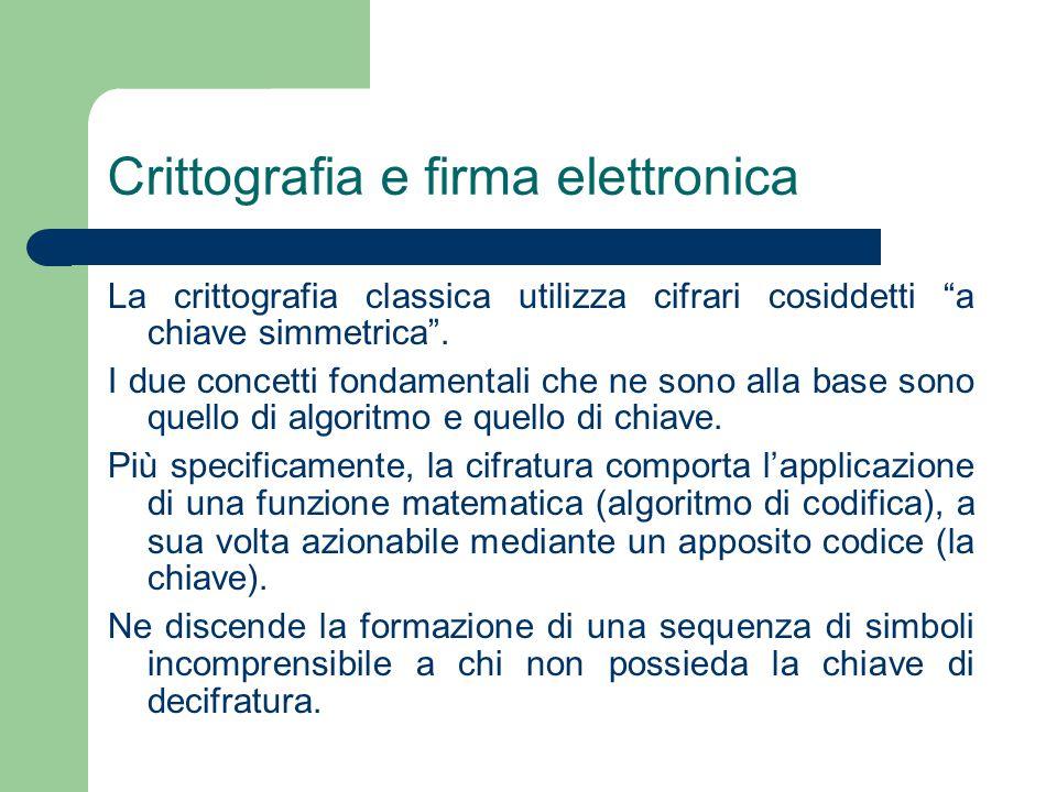 Crittografia e firma elettronica La crittografia classica utilizza cifrari cosiddetti a chiave simmetrica .