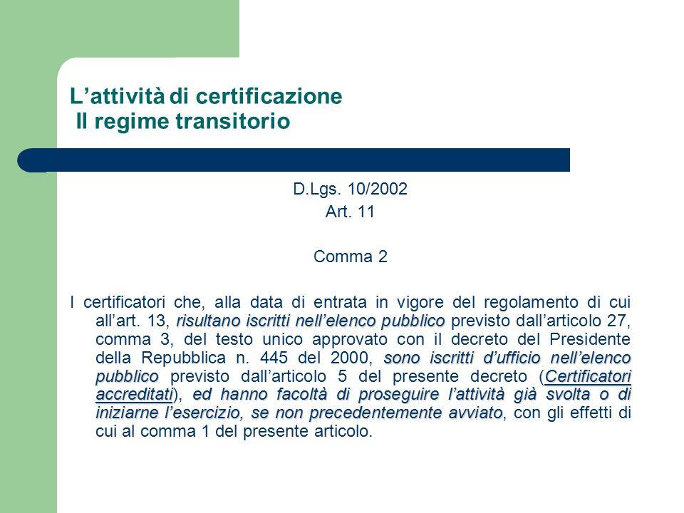 L'attività di certificazione Il regime transitorio D.Lgs.