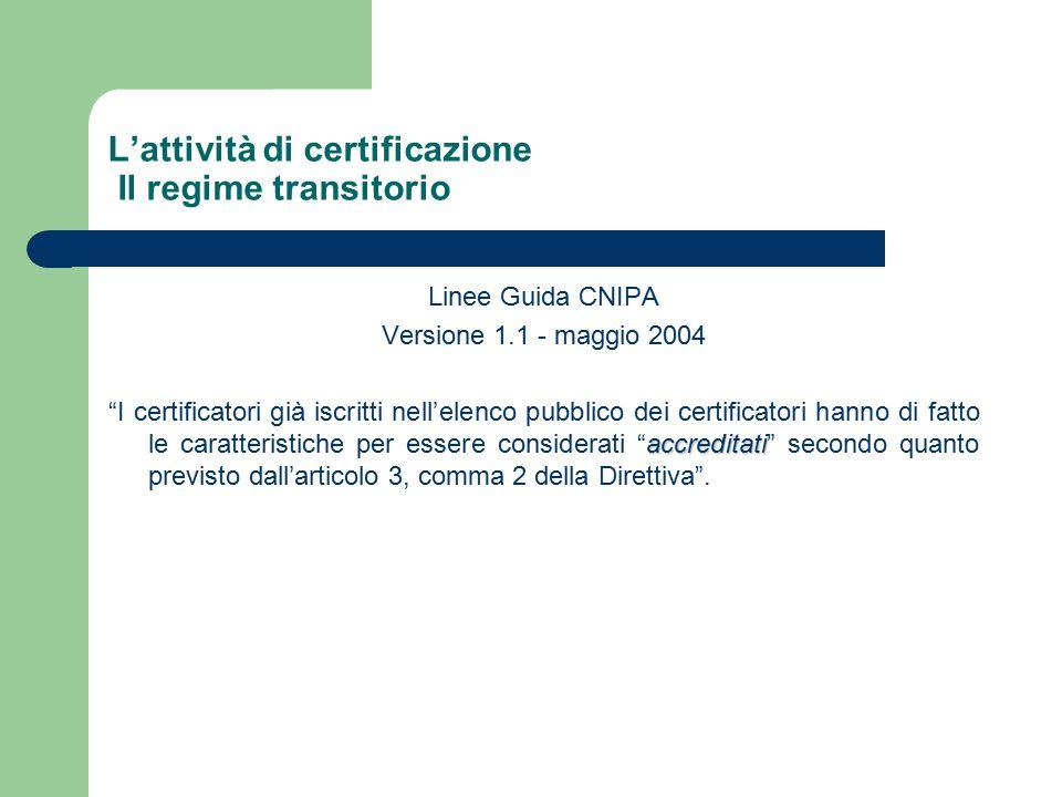 L'attività di certificazione Il regime transitorio Linee Guida CNIPA Versione 1.1 - maggio 2004 accreditati I certificatori già iscritti nell'elenco pubblico dei certificatori hanno di fatto le caratteristiche per essere considerati accreditati secondo quanto previsto dall'articolo 3, comma 2 della Direttiva .