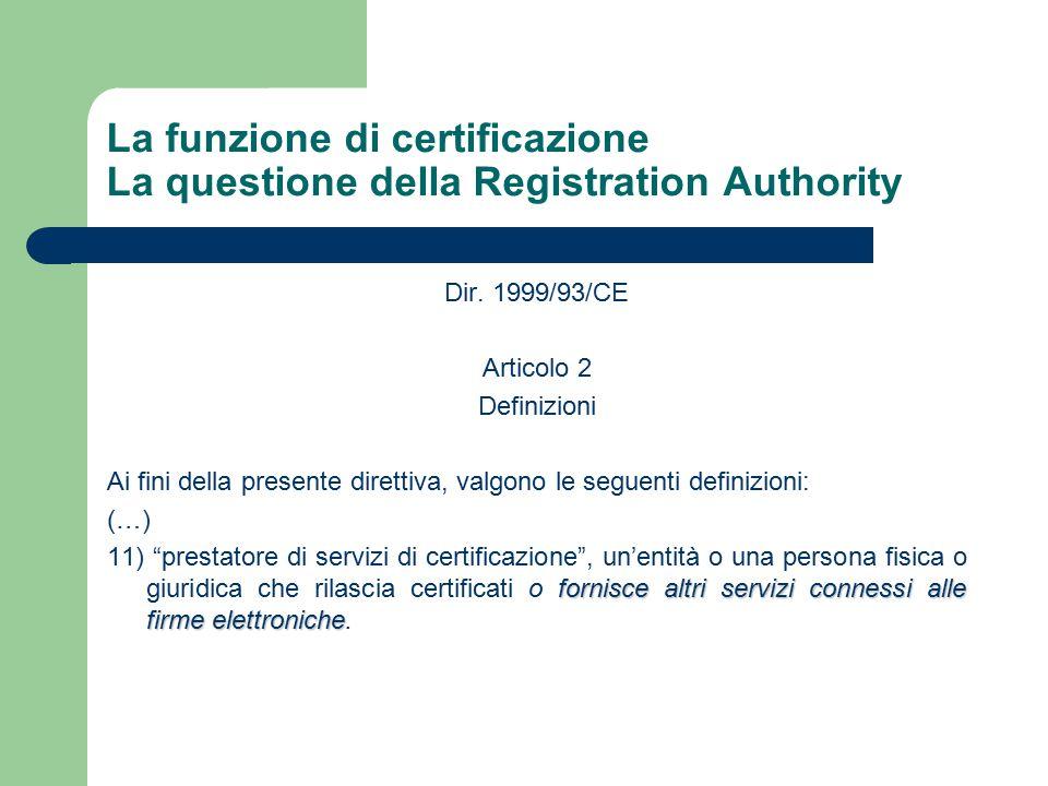 La funzione di certificazione La questione della Registration Authority Dir.