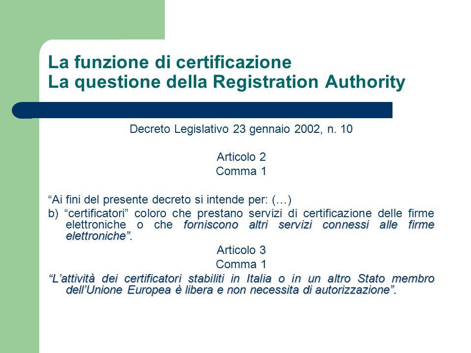 La funzione di certificazione La questione della Registration Authority Decreto Legislativo 23 gennaio 2002, n.