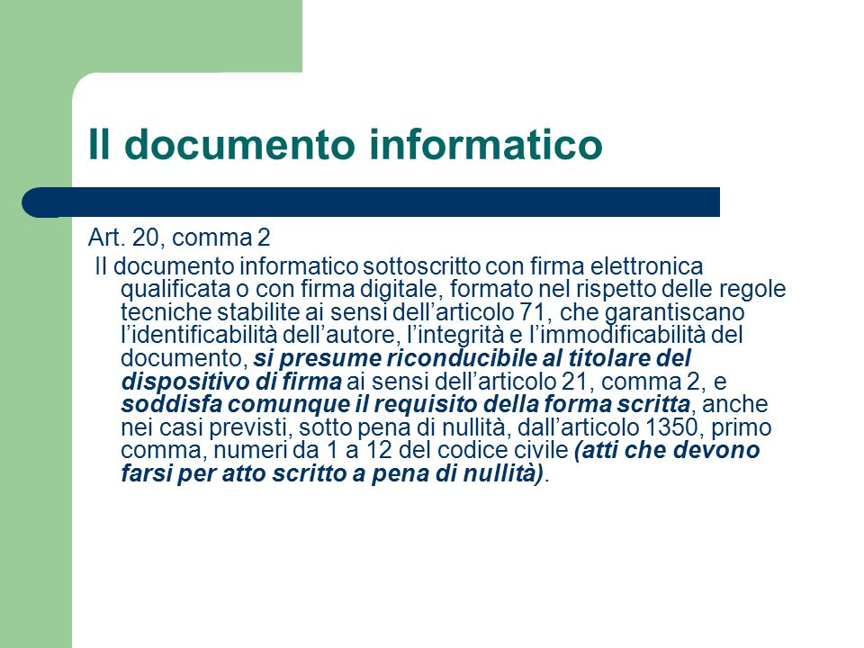 Il documento informatico Art.