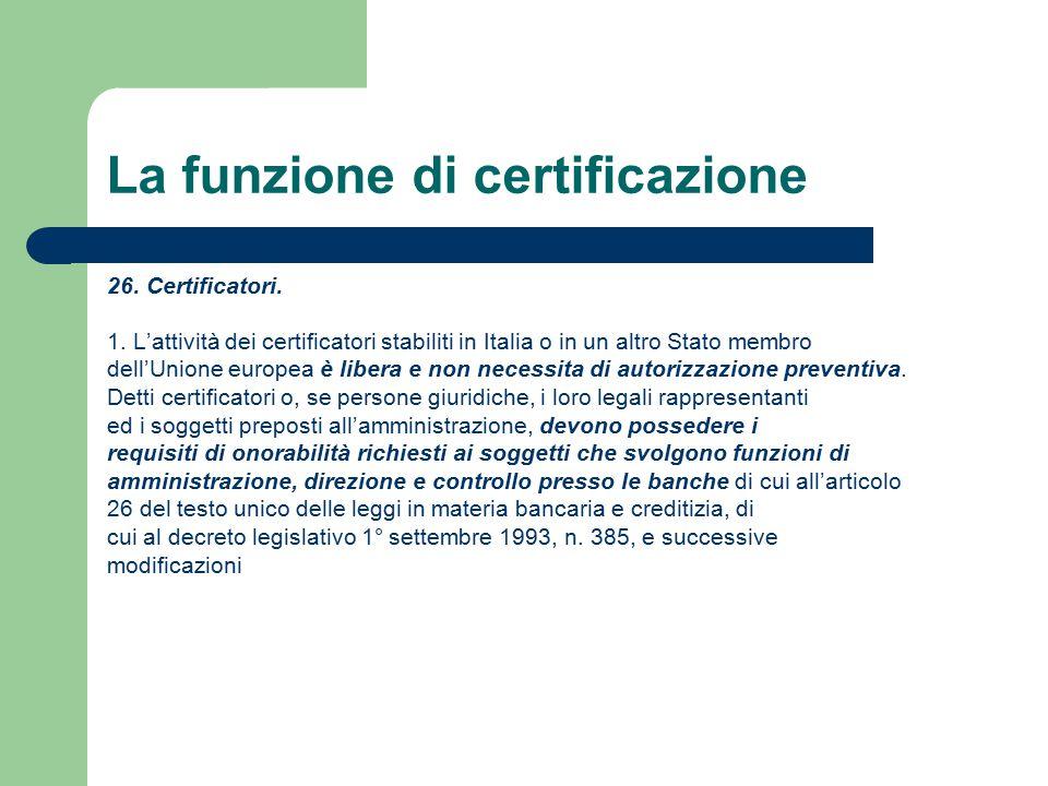 La funzione di certificazione 26. Certificatori. 1.