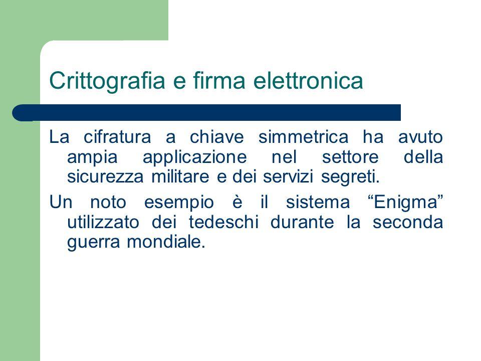 Crittografia e firma elettronica La cifratura a chiave simmetrica ha avuto ampia applicazione nel settore della sicurezza militare e dei servizi segreti.