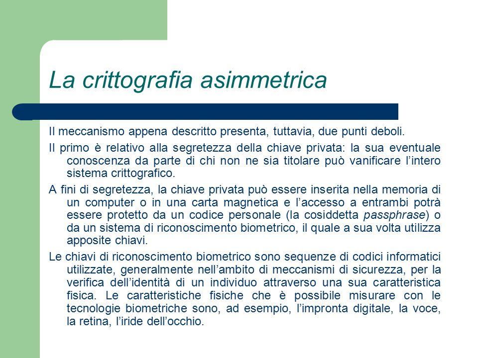 La crittografia asimmetrica Il meccanismo appena descritto presenta, tuttavia, due punti deboli.