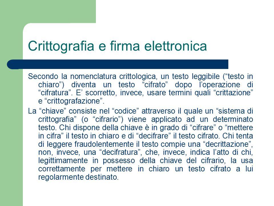 Crittografia e firma elettronica Secondo la nomenclatura crittologica, un testo leggibile ( testo in chiaro ) diventa un testo cifrato dopo l'operazione di cifratura .