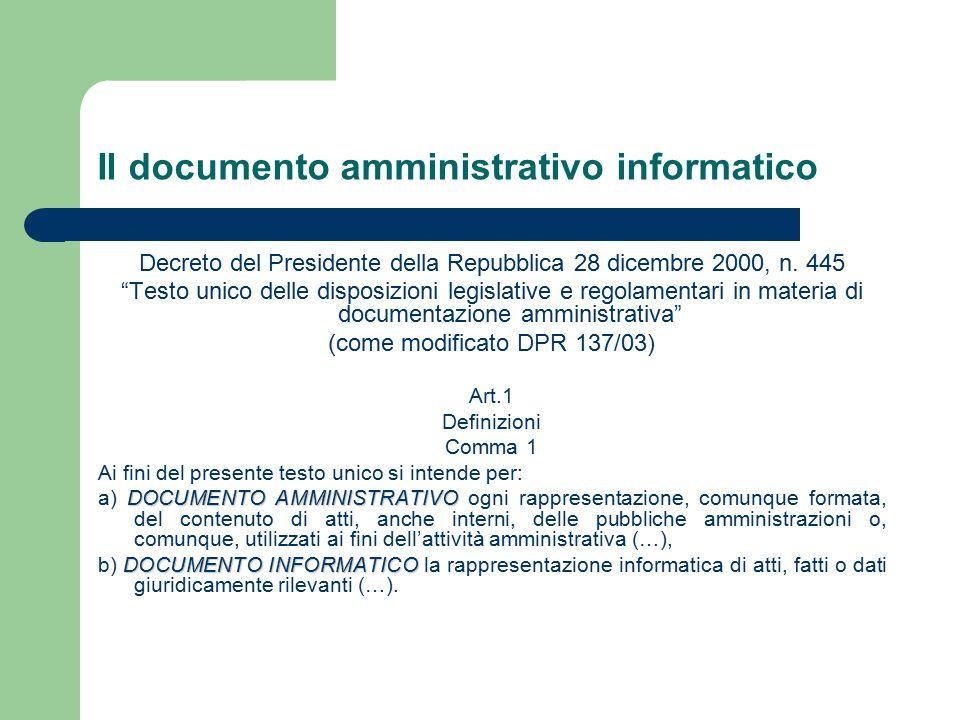 Il documento amministrativo informatico Decreto del Presidente della Repubblica 28 dicembre 2000, n.